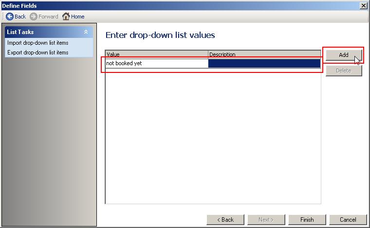 Adding dropdown entries